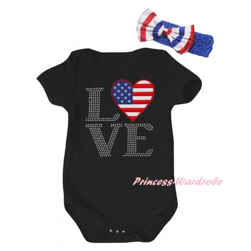 American's Birthday Black Baby Jumpsuit & Sparkle Rhinestone Love America Flag Print & Blue Headband Bow TH952