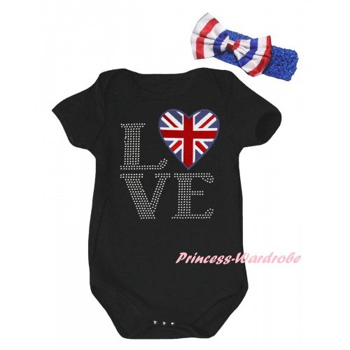 American's Birthday Black Baby Jumpsuit & Sparkle Rhinestone Love British Flag Print & Blue Headband Bow TH953