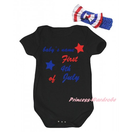American's Birthday Black Baby Jumpsuit & Baby's Name First 4th Of July Painting & Blue Headband Bow TH954