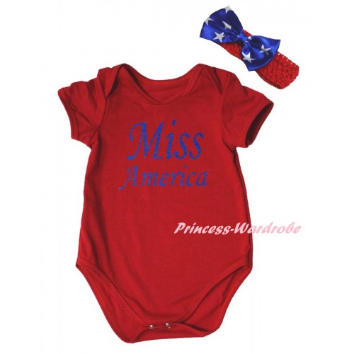American's Birthday Red Baby Jumpsuit & Blue Miss America Painting & Red Headband Bow TH956