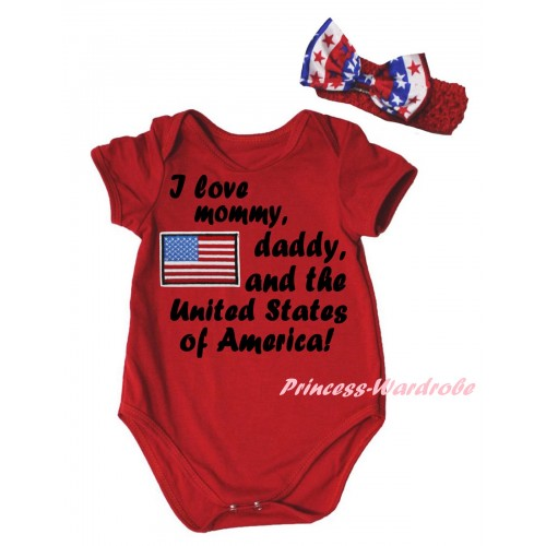 American's Birthday Red Baby Jumpsuit & Patriotic America Flag I Love Mommy, Daddy, And The United States of America! Painting & Red Headband Bow TH958