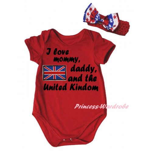 American's Birthday Red Baby Jumpsuit & Patriotic British Flag I Love Mommy, Daddy, And The United Kindom Painting & Red Headband Bow TH959