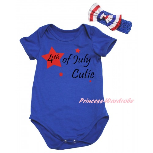 American's Birthday Royal Blue Baby Jumpsuit & 4th Of July Cutie Painting & Blue Headband Bow TH962