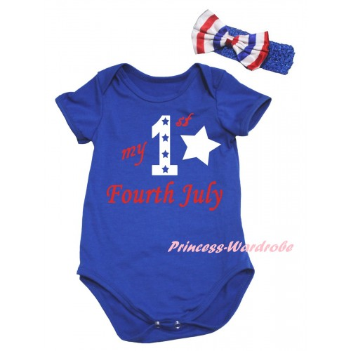 American's Birthday Royal Blue Baby Jumpsuit & My 1st Fourth July Painting & Blue Headband Bow TH963