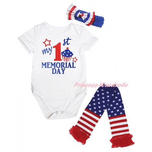American's Birthday White Baby Jumpsuit & My 1st Memorial Day Painting & Blue Headband Bow & Warmers Leggings Set TH974