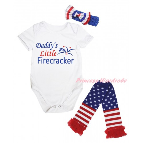 White Baby Jumpsuit & Daddy's Little Firecracker Painting & Blue Headband Bow & Warmers Leggings Set TH976