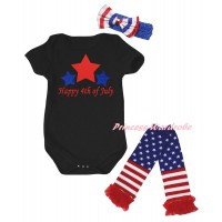 American's Birthday Black Baby Jumpsuit & Happy 4th Of July Painting & Blue Headband Bow & Warmers Leggings Set TH980
