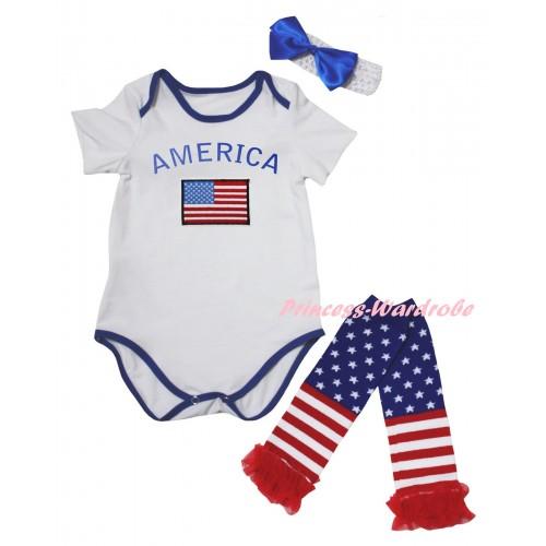 American's Birthday White Royal Blue Piping Baby Jumpsuit & Patriotic America Flag Print & Headband & Warmers Leggings Set TH981