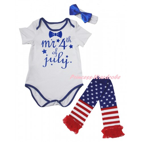 American's Birthday White Royal Blue Piping Baby Jumpsuit & Mr 4th Of July Painting & Headband & Warmers Leggings Set TH982