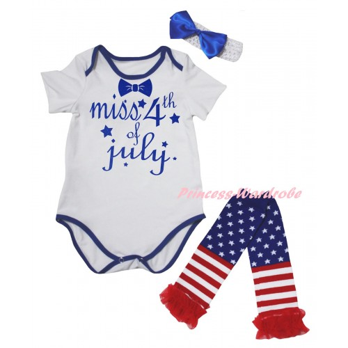 American's Birthday White Royal Blue Piping Baby Jumpsuit & Miss 4th Of July Painting & Headband & Warmers Leggings Set TH983