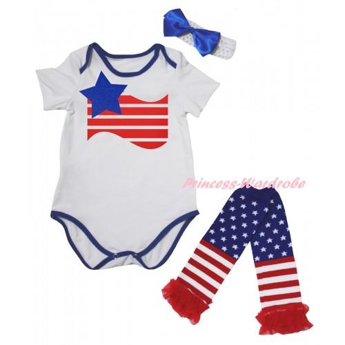 American's Birthday White Royal Blue Piping Baby Jumpsuit & Patriotic America Flag Painting & Headband & Warmers Leggings Set TH984