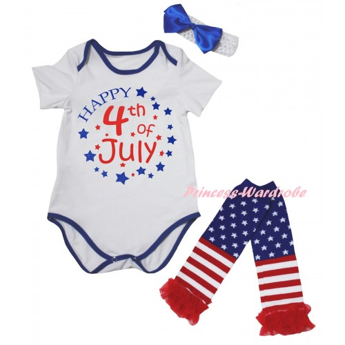 American's Birthday White Royal Blue Piping Baby Jumpsuit & Happy 4th Of July Painting & Headband & Warmers Leggings Set TH985