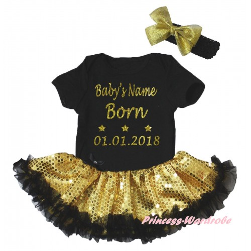 Black Baby Bodysuit Bling Yellow Sequins Black Pettiskirt & Baby's Name Born 01.01.2018 Painting JS6689