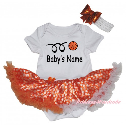 White Baby Bodysuit Orange White Dots Pettiskirt & Basketball Baby's Name Painting JS6700