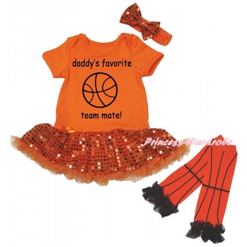 Orange Baby Bodysuit Bling Orange Sequins Pettiskirt & Daddy's Favorite Team Mate! Painting & Warmers Leggings JS6720