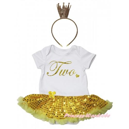 White Baby Bodysuit Bling Yellow Sequins Pettiskirt & Birthday Two Painting & Bling Glitter Crown Headband JS6727