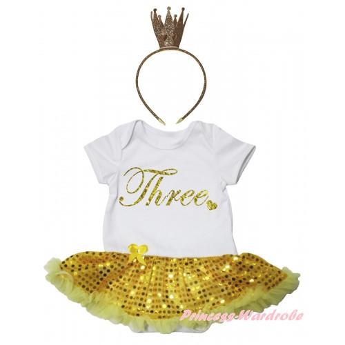 White Baby Bodysuit Bling Yellow Sequins Pettiskirt & Birthday Three Painting & Bling Glitter Crown Headband JS6728