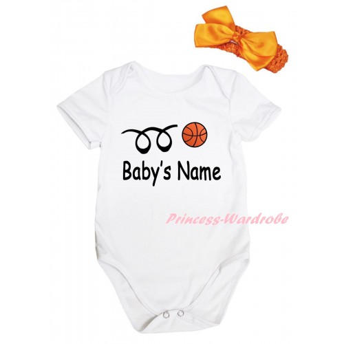 White Baby Jumpsuit & Baby's Name Basketball Painting & Orange Headband Bow TH1003