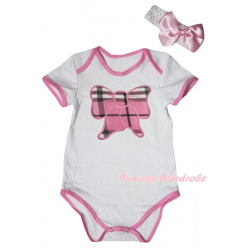 White Light Pink Piping Baby Jumpsuit & Light Pink Checked Butterfly Print & Headband TH1032