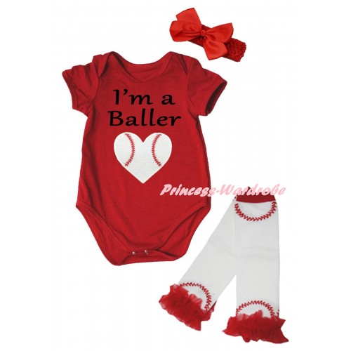 Red Baby Jumpsuit & I'm A Baller Baseball Heart Print & Red Headband Bow & Red Ruffles White Baseball Leg Warmer Set TH1040