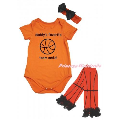 Orange Baby Jumpsuit & Daddy's Favorite Team Mate Painting & Orange Headband Black Bow & Black Ruffles Orange Basketball Leg Warmer Set TH1042