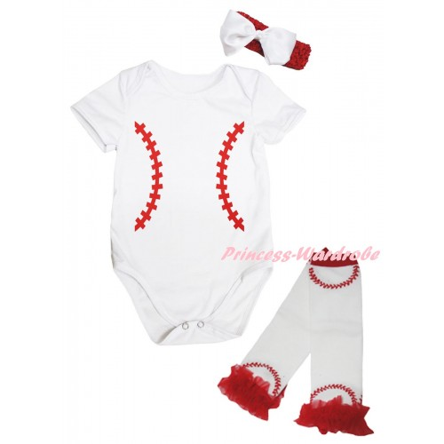 White Baby Jumpsuit & Baseball Painting & Red Headband White Bow & Red Ruffles White Baseball Leg Warmer Set TH1043