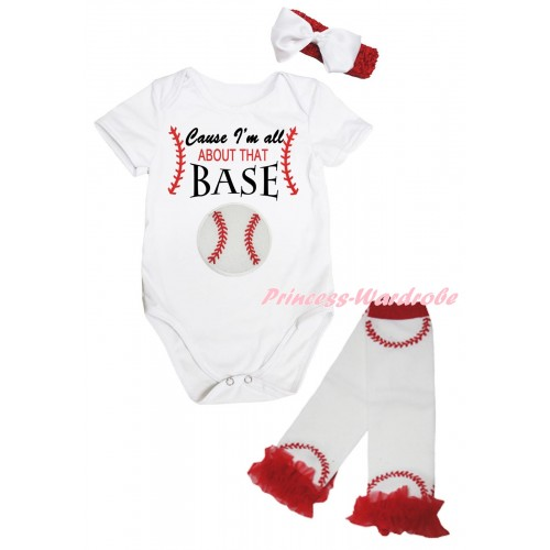 White Baby Jumpsuit & Cause I'm All About That Base Print & Red Headband White Bow & Red Ruffles White Baseball Leg Warmer Set TH1044