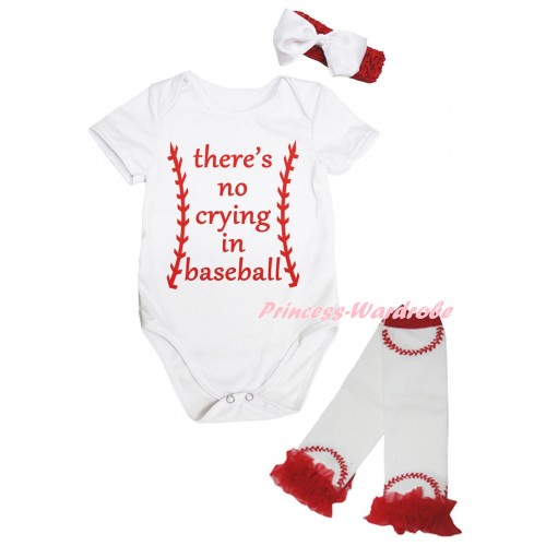 White Baby Jumpsuit & There's No Crying In Baseball Painting & Red Headband White Bow & Red Ruffles White Baseball Leg Warmer Set TH1045