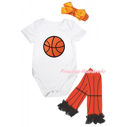 White Baby Jumpsuit & Basketball Print & Orange Headband Bow & Black Ruffles Orange Basketball Leg Warmer Set TH1046