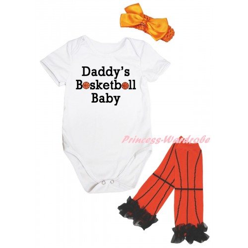 White Baby Jumpsuit & Daddy's Basketball Baby Painting & Orange Headband Bow & Black Ruffles Orange Basketball Leg Warmer Set TH1048