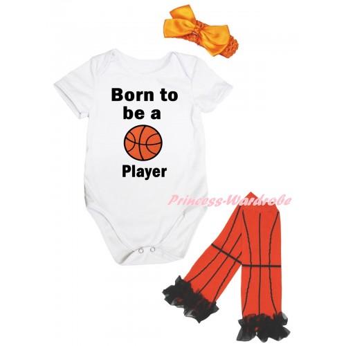 White Baby Jumpsuit & Born To Be A Basketball Player Painting & Orange Headband Bow & Black Ruffles Orange Basketball Leg Warmer Set TH1049