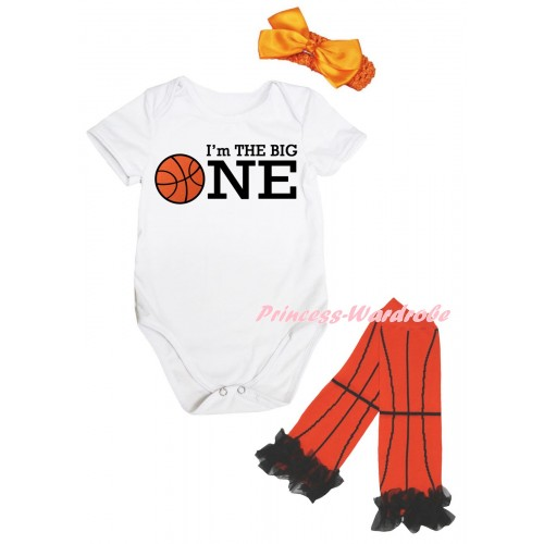 White Baby Jumpsuit & I'm The Big One Painting & Orange Headband Bow & Black Ruffles Orange Basketball Leg Warmer Set TH1050