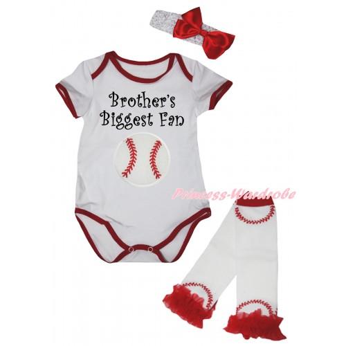 White Red Piping Baby Jumpsuit & Brother's Biggest Fan Baseball Print & Headband & Red Ruffles White Baseball Leg Warmer Set TH1051