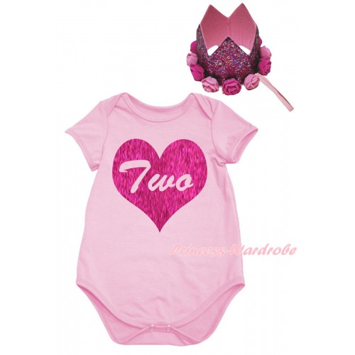 Light Pink Baby Jumpsuit & Two Heart Painting & Glitter Rose Floral Pink Crown Headband TH989