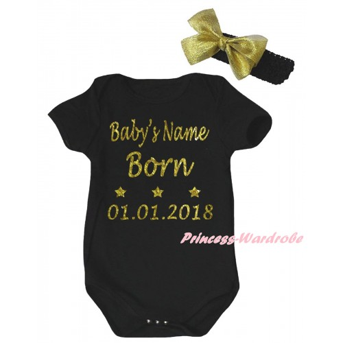 Black Baby Jumpsuit & Baby's Name Born 01.01.2018 Painting & Black Headband Gold Bow TH996