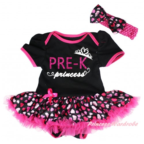 Black Baby Bodysuit Hot Pink Heart Pettiskirt & PRE-K Princess Painting JS6730