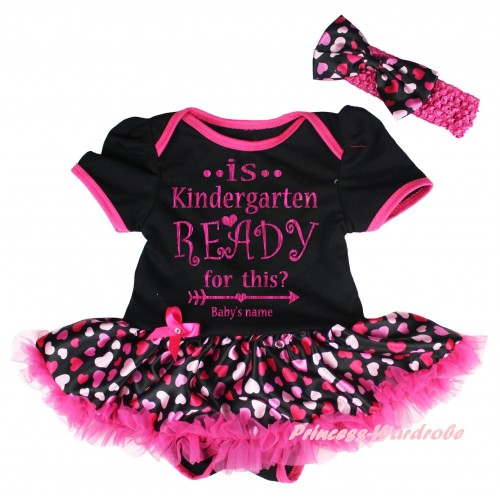 Personalized Custom Black Baby Bodysuit Hot Pink Heart Pettiskirt & Is Kindergarten Ready For This? Baby's Name Painting JS6731