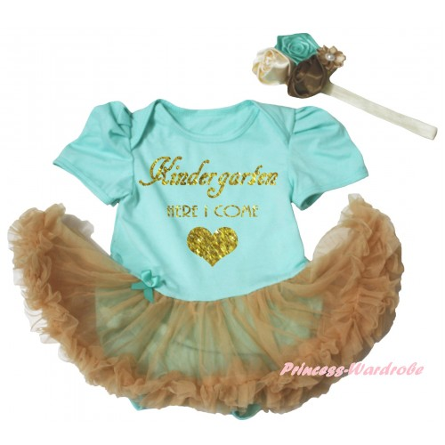 Aqua Blue Baby Bodysuit Goldenrod Pettiskirt & Kindergarten Here I Come Painting JS6735