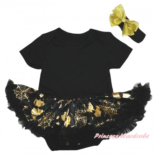 Halloween Black Baby Bodysuit Gold Ghost Spider Web Pettiskirt JS6736