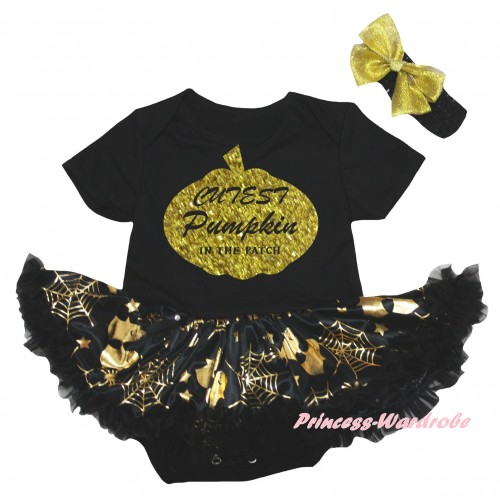 Halloween Black Baby Bodysuit Gold Ghost Spider Web Pettiskirt & Cutest Pumpkin In The Patch Painting JS6738