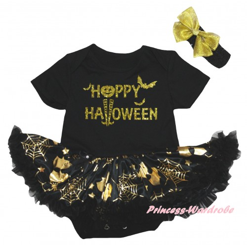 Halloween Black Baby Bodysuit Gold Ghost Spider Web Pettiskirt & Happy Halloween Painting JS6739