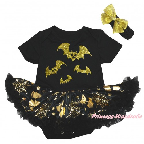 Halloween Black Baby Bodysuit Gold Ghost Spider Web Pettiskirt & Halloween Bat Painting JS6740