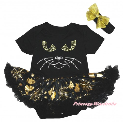 Halloween Black Baby Bodysuit Gold Ghost Spider Web Pettiskirt & Sparkle Rhinestone Cat Face Print JS6741