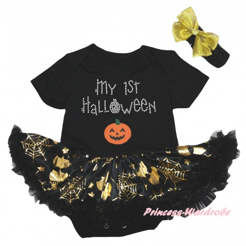 Halloween Black Baby Bodysuit Gold Ghost Spider Web Pettiskirt & My 1st Halloween Pumpkins Print JS6743
