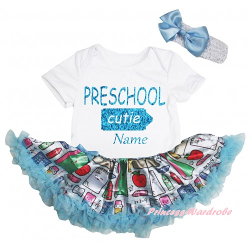 Personalized Custom White Baby Bodysuit Light Blue Stationery Pettiskirt & Preschool Cutie Baby's Name Painting JS6764