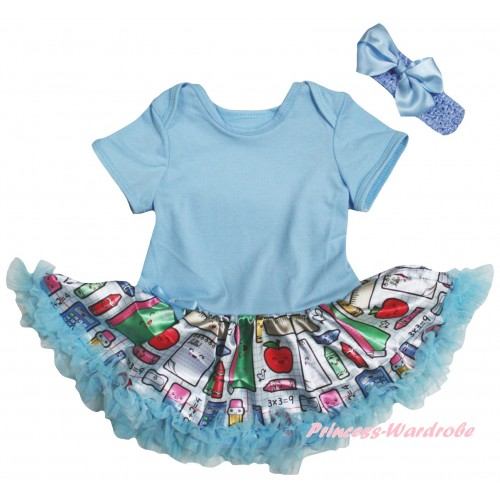 Light Blue Baby Bodysuit Light Blue Stationery Pettiskirt JS6767