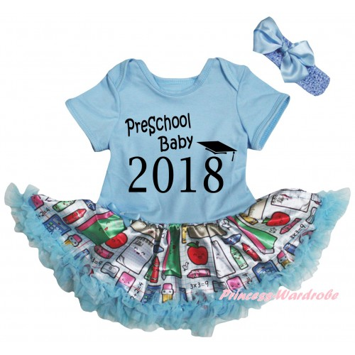Light Blue Baby Bodysuit Light Blue Stationery Pettiskirt & Preschool Baby 2018 Painting JS6768