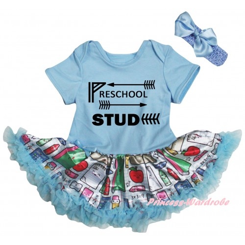 Light Blue Baby Bodysuit Light Blue Stationery Pettiskirt & Preschool Stud Painting JS6769