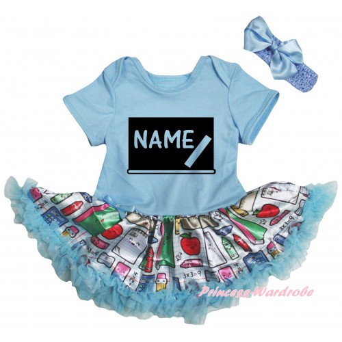 Personalized Custom Light Blue Baby Bodysuit Light Blue Stationery Pettiskirt & Blackboard Baby's Name Painting JS6770