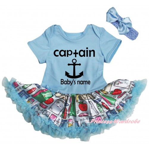 Personalized Custom Light Blue Baby Bodysuit Light Blue Stationery Pettiskirt & Captain Baby's Name Painting JS6772